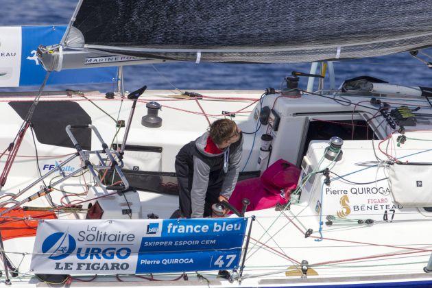 Pierre Quiroga (Skipper Espoir CEM) in La Solitaire Urgo Le Figaro 2017. Photo  © Alexis Courcoux.