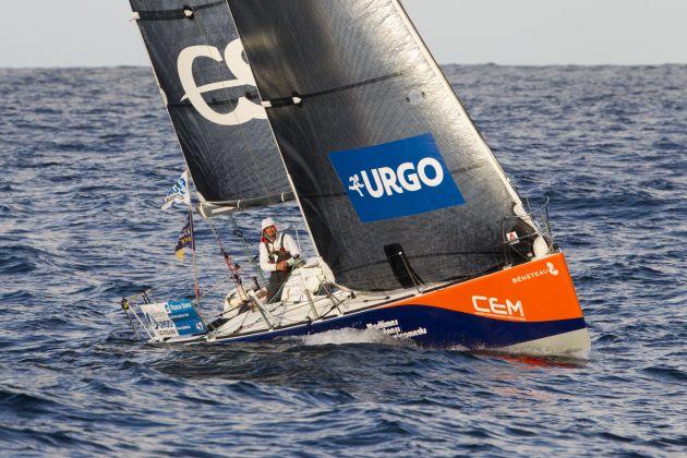 Pierre Quiroga (Skipper Espoir CEM) in the second leg of La Solitaire Urgo Le Figaro 2017. Photo © Alexis Courcoux.
