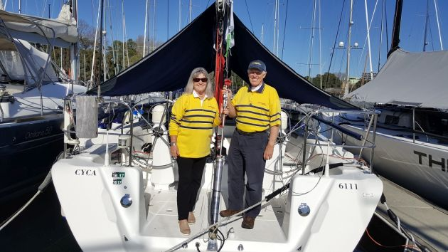 Denise and Colin Wilson aboard Never a Dull Moment. Photo Andrea Francolini.