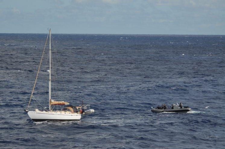HMAS Melbourne's boarding party response to civil maritime distress call from Skylark III. Photo ABML-S Hannah Walton.