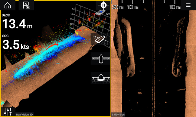 Point Mode (left) provides the highest resolution 3D imagery of underwater objects. CHIRP SideVision (right) provides photo-like details.