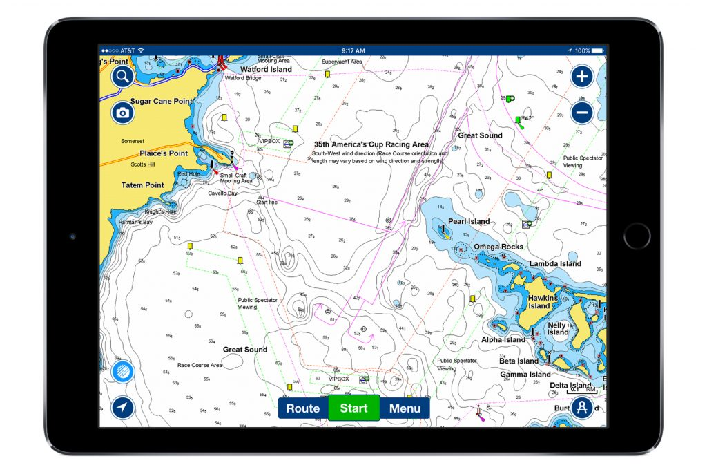 Screenshot of the Navionics Bermuda chart.