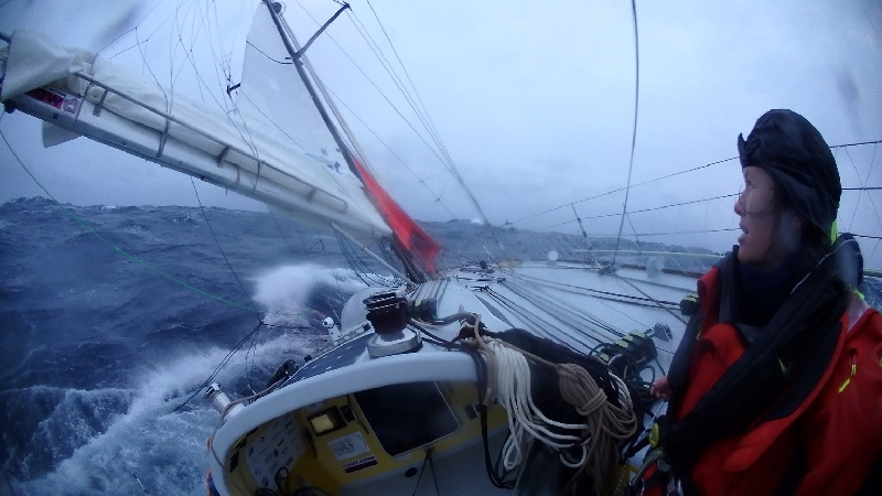 Lisa heaving to in the Southern Ocean.