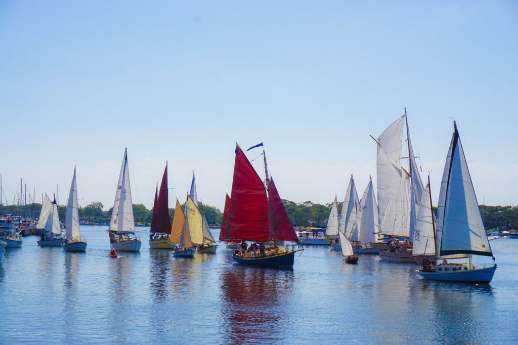 Classic yachts cruising through McMillan Strait are a sight for sore eyes in the 2016 Paynesville Classic Boat Rally. Photo supplied.