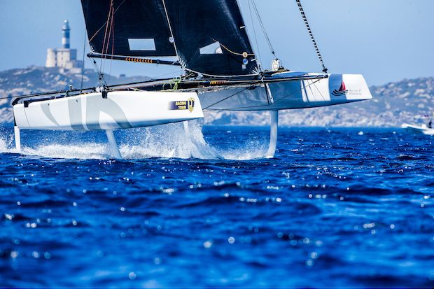 Team Argo charging to the top of the leaderboard on Day 2. Photo: Jesus Renedo / GC32 Racing Tour.