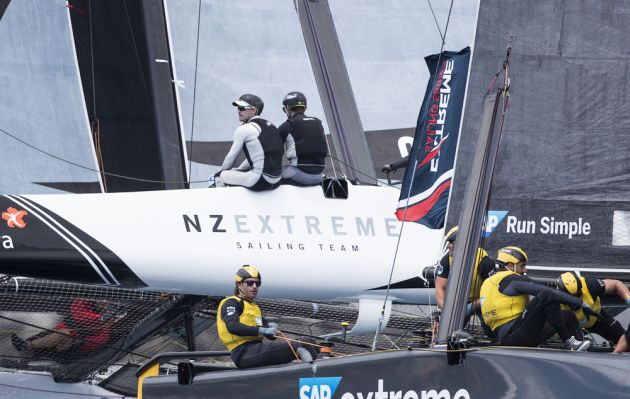 NZ Extreme Sailing Team and SAP Extreme Sailing Team battle it out for the top spot during day one in Madeira Islands