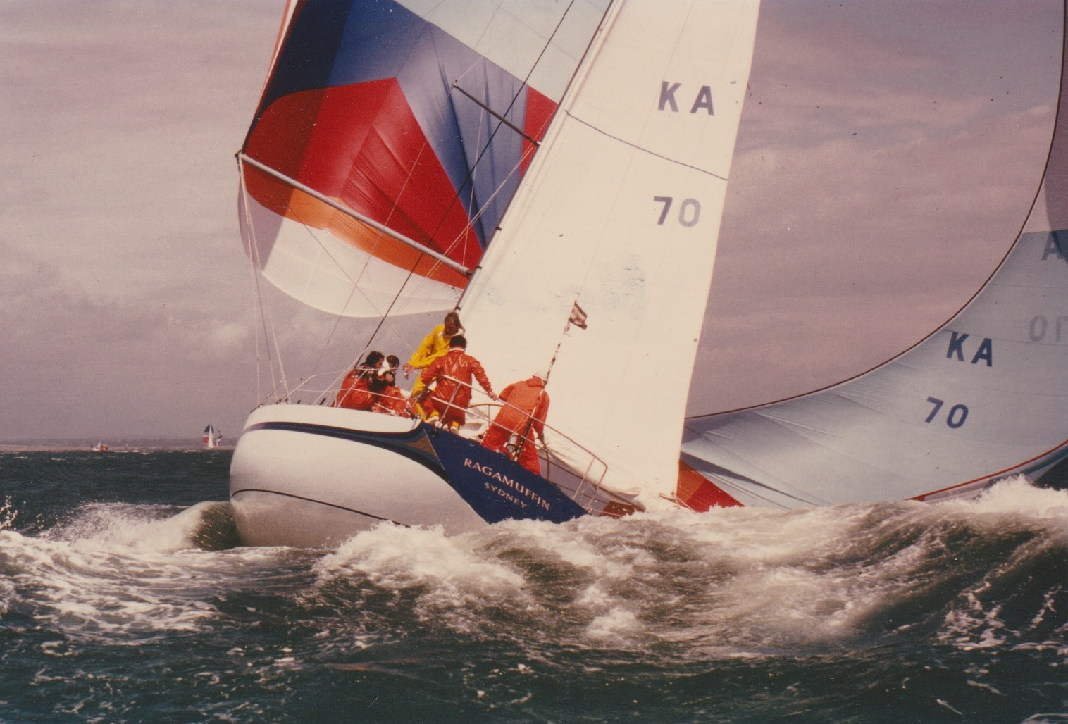 Ragamuffin with all guns blazing on the Solent during the Admiral's Cup. Photo supplied.