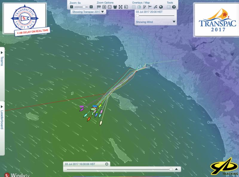 YB tracker data shows the fleet clear of Catalina in the first night of the race