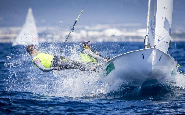 Belcher and Ryan at the 2016 European Championships. Photo Jesus Renedo/Sailing Energy.