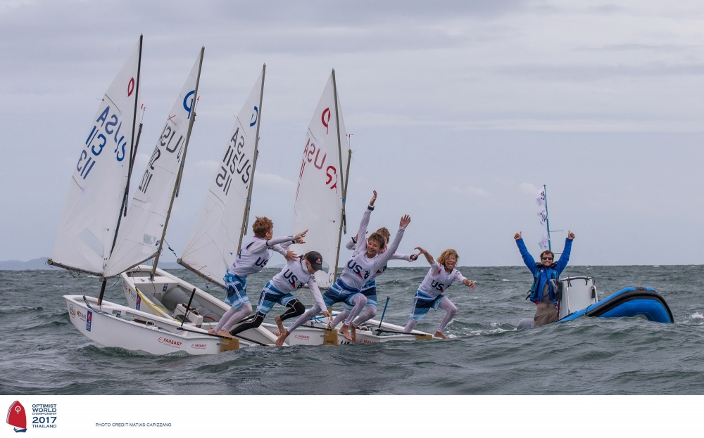 The US Optimist team celebrates its win. Photo Matthias Capizzano.