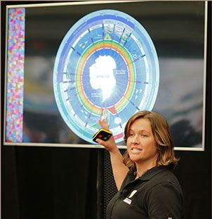 Lisa Blair speaking at the 2016 Sydney International Boat Show. Photo BIA.