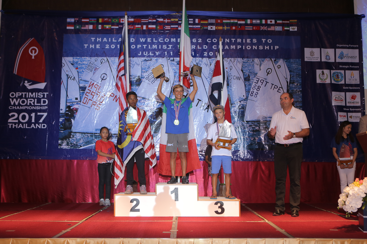 Prize giving at the 2017 Opti Worlds. Photo supplied.