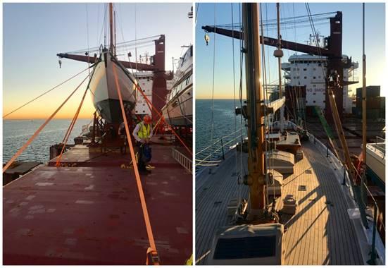 Dorade arriving in Brisbane yesterday via yacht transport (Photo Credit: Rasmus Bregenhoj).