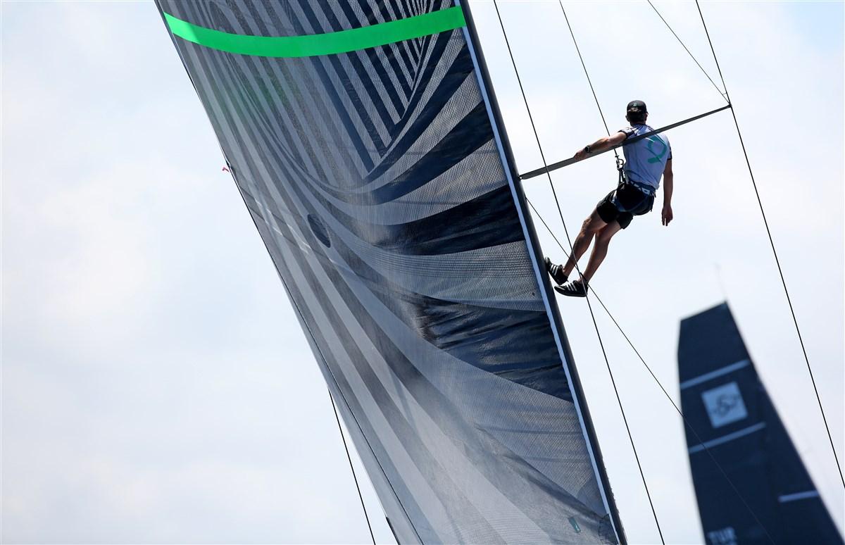 Up the mast on Quantum. TP52 Puerto Portals. Photo Max Ranchi.