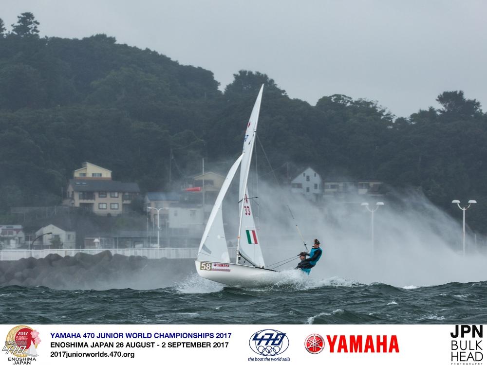 Crazy conditions at the 470 Junior Worlds. Photo © Junichi Hirai.