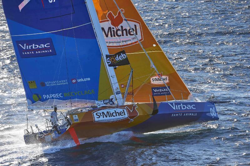 Jean-Pierre Dick and Yann Eliès will race double handed on the foil-assisted Virbac-Paprec 3. Photo ©StMichel-Virbac /Y.Zedda.
