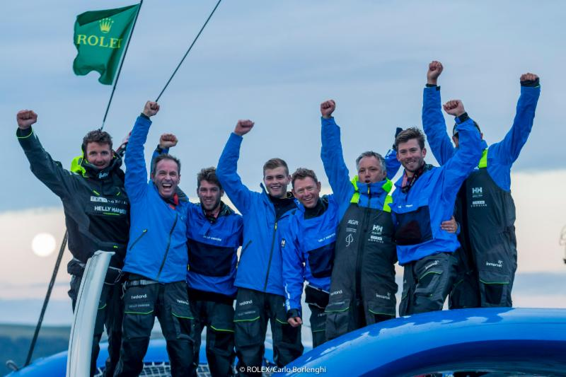 First boat in the Rolex Fastnet Race arrives in Plymouth: Tony Lawson's MOD70 trimaran