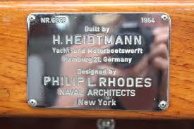 A typical builder's plate. Photo Sandeman Yacht Company.