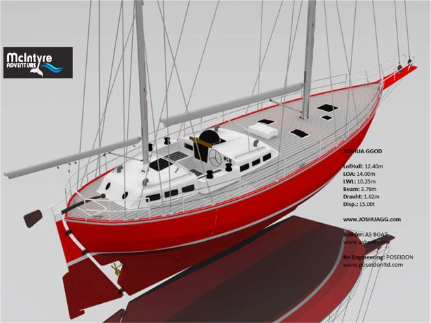3D render of the 40ft  Joshua Class yacht adopted for the 2022 Golden Globe Race. The first production yacht will be unveiled at the start of the 2018 Golden Globe Race in Plymouth next June.
