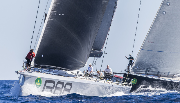 George David's Rambler 88 lines up for today's start. Photo: ROLEX / Carlo Borlenghi.