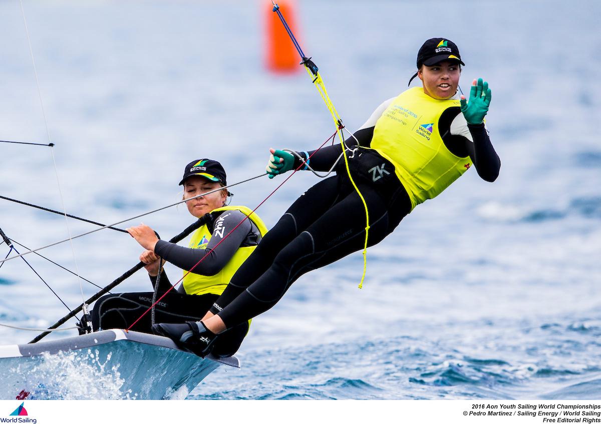 Tash Bryant (helm) and Annie Wilmot winning the 29er at the Youth Worlds 2016. Photo Pedro Marinez/Sailing Energy/World Sailing.