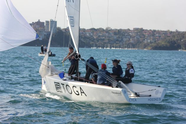 Happy sailors on Costanzo's team as they cross the finish line. Photo CYCA Staff