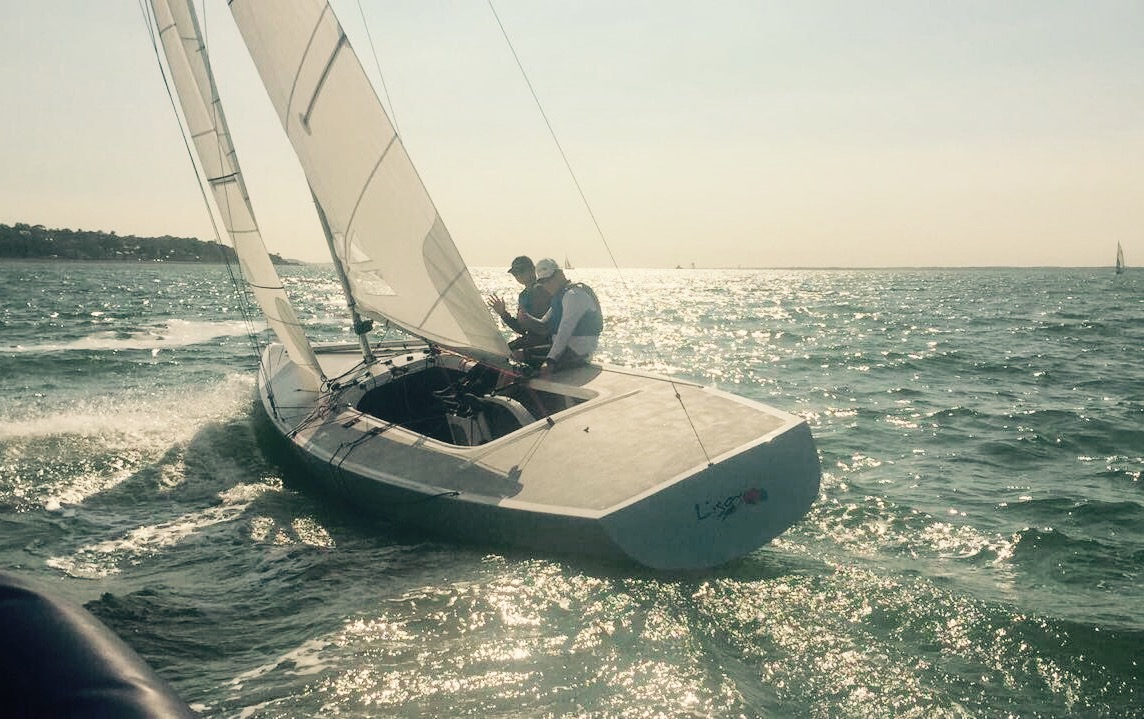 Martin Hill at the helm of Lisa Rose on the Solent off Cowes.