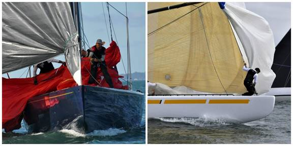 Action aboard Defender (left) and New Zealand at this year's 12 Metre North American Championship. (Photo credit: SallyAnne Santos)