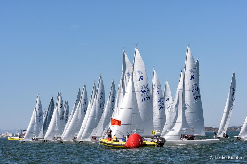 Mayhem on the starting line for the first start of the Etchells Worlds. Photo courtesy Leslie Richter