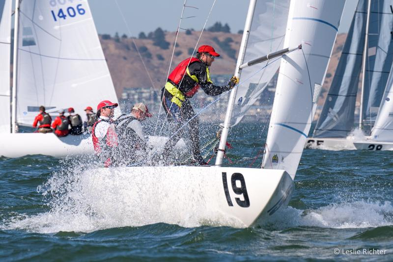 Senet Bischoff takes the lead after Day 4 of racing in the Etchells World Championship. Photo courtesy Leslie Richter