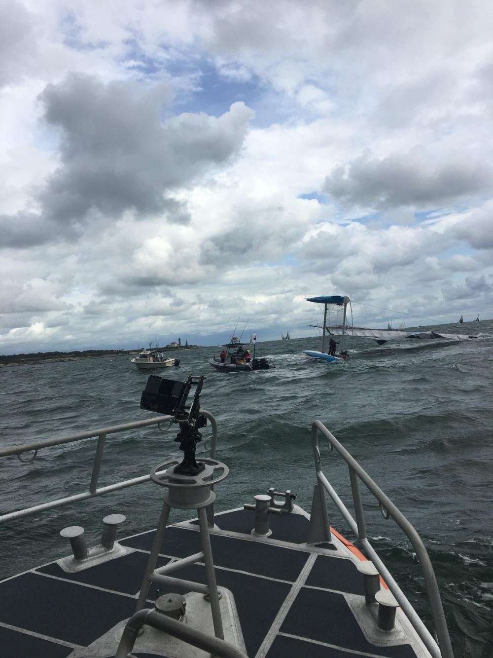 The Coast Guard arrives on the scene. Photo USCG.