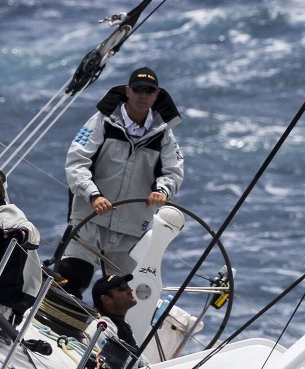 Matt Allen at the helm of Ichi Ban.Photo Yachting Australia.