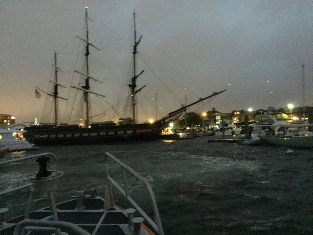The SSV Oliver Hazard Perry drifts on to a marina on Rhode Island.