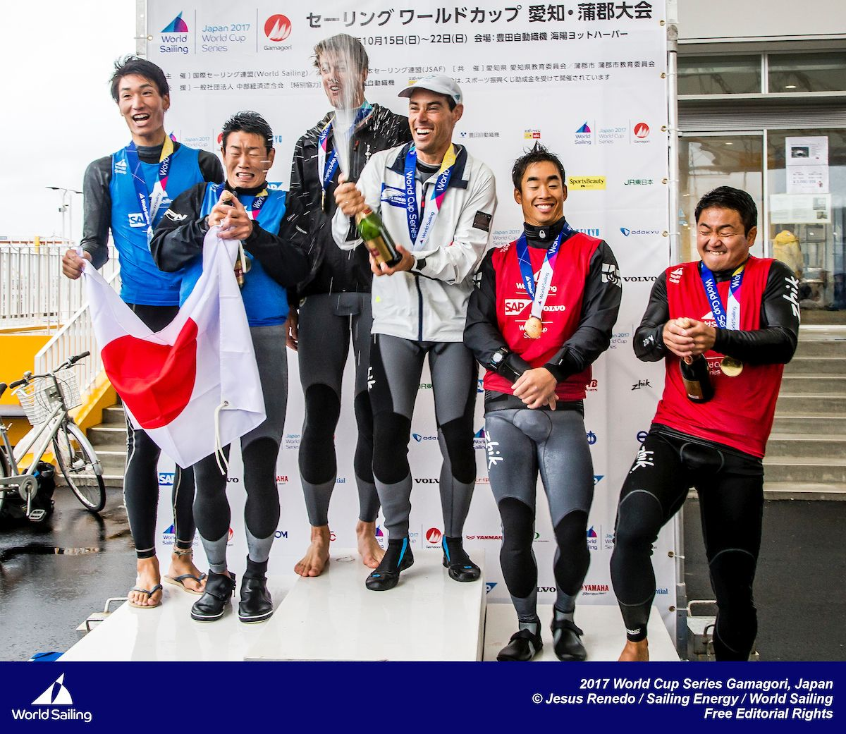 Mat Belcher and Will Ryan on top of the podium in Japan. Photo Jesus Renedo/Sailing Energy.