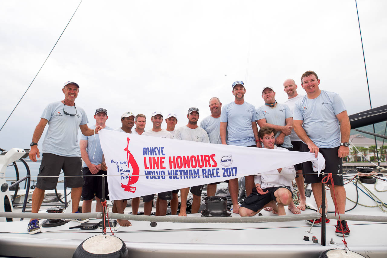 Alive celebrates Line Honours. Photo RHKYC / Lorenza Priamo.