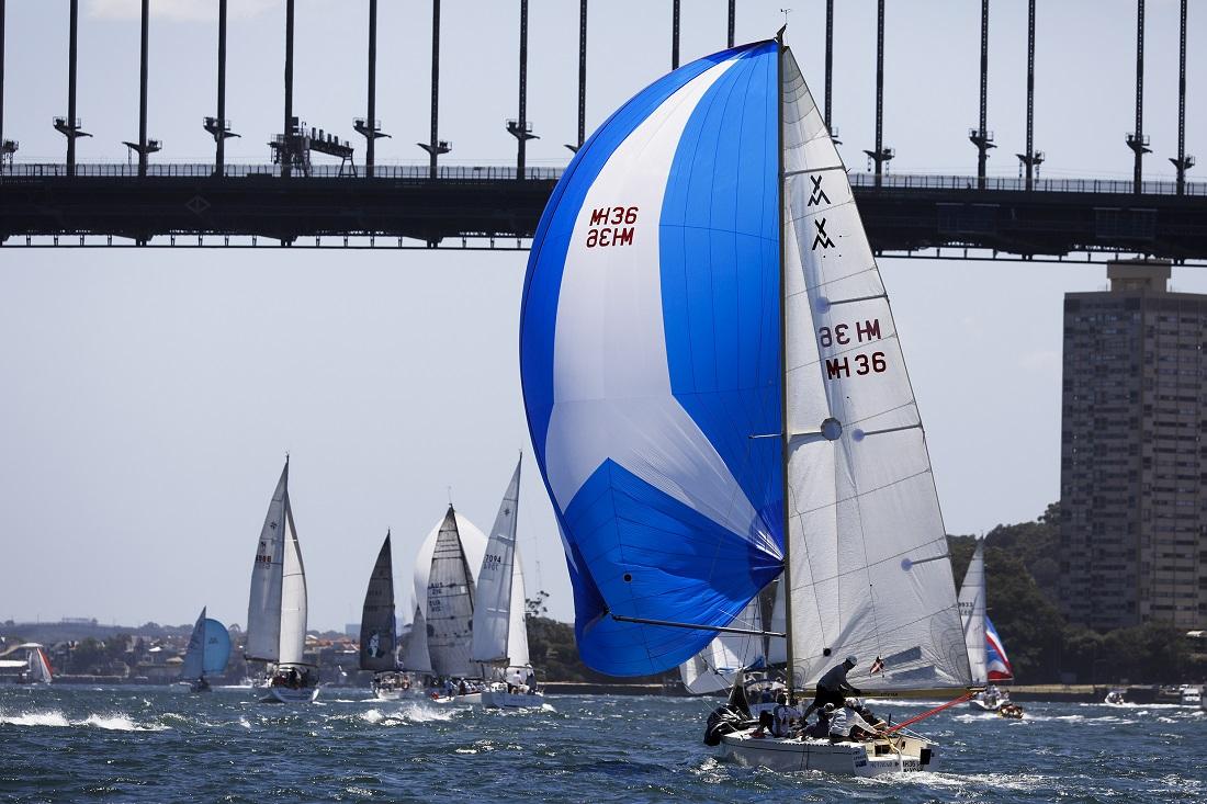 Seven Islands competitors head under Sydney Harbour Bridge - Allan Coker pic.
