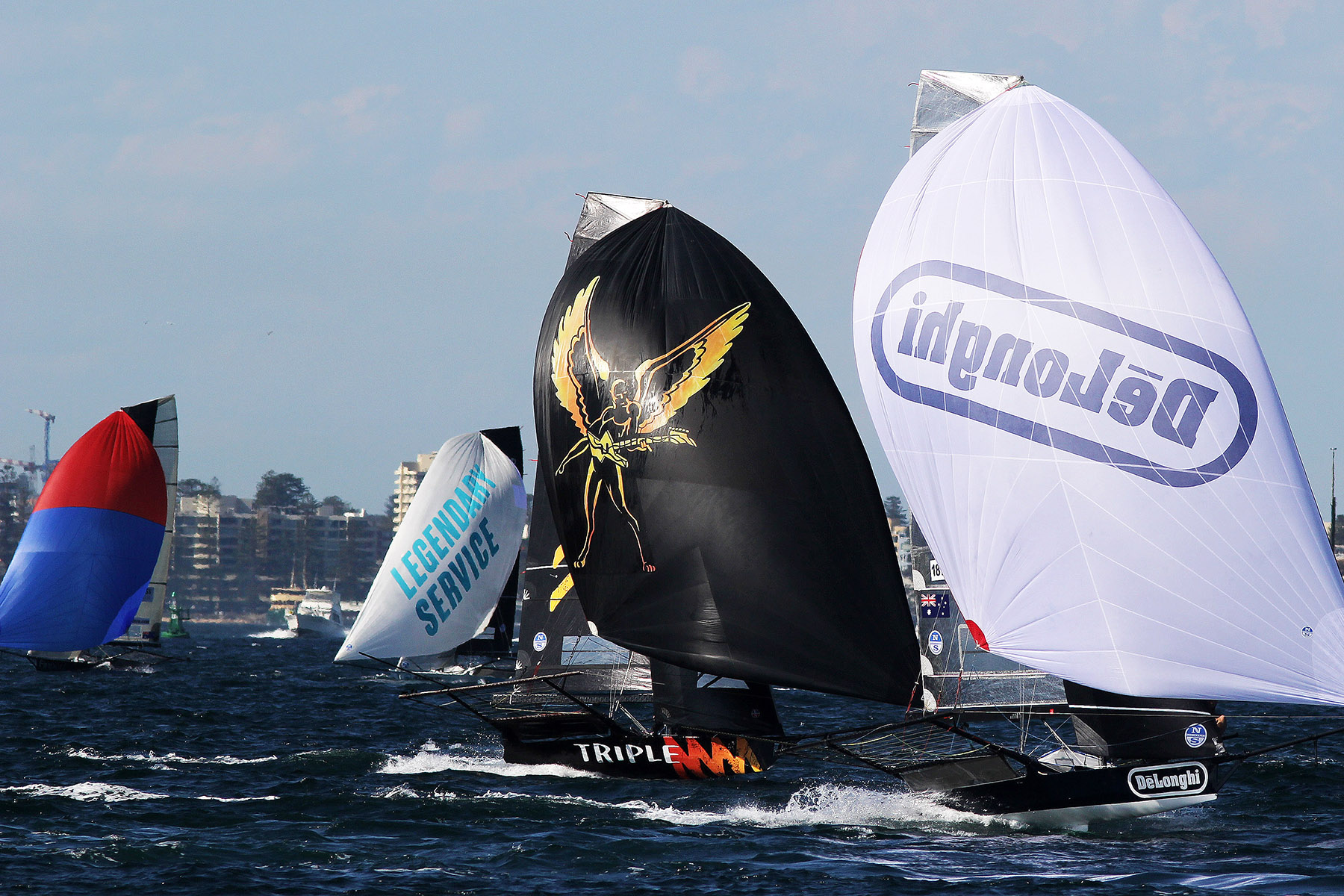 DeLonghi and Triple M lead the fleet on the run home. Photo Frank Quealey.