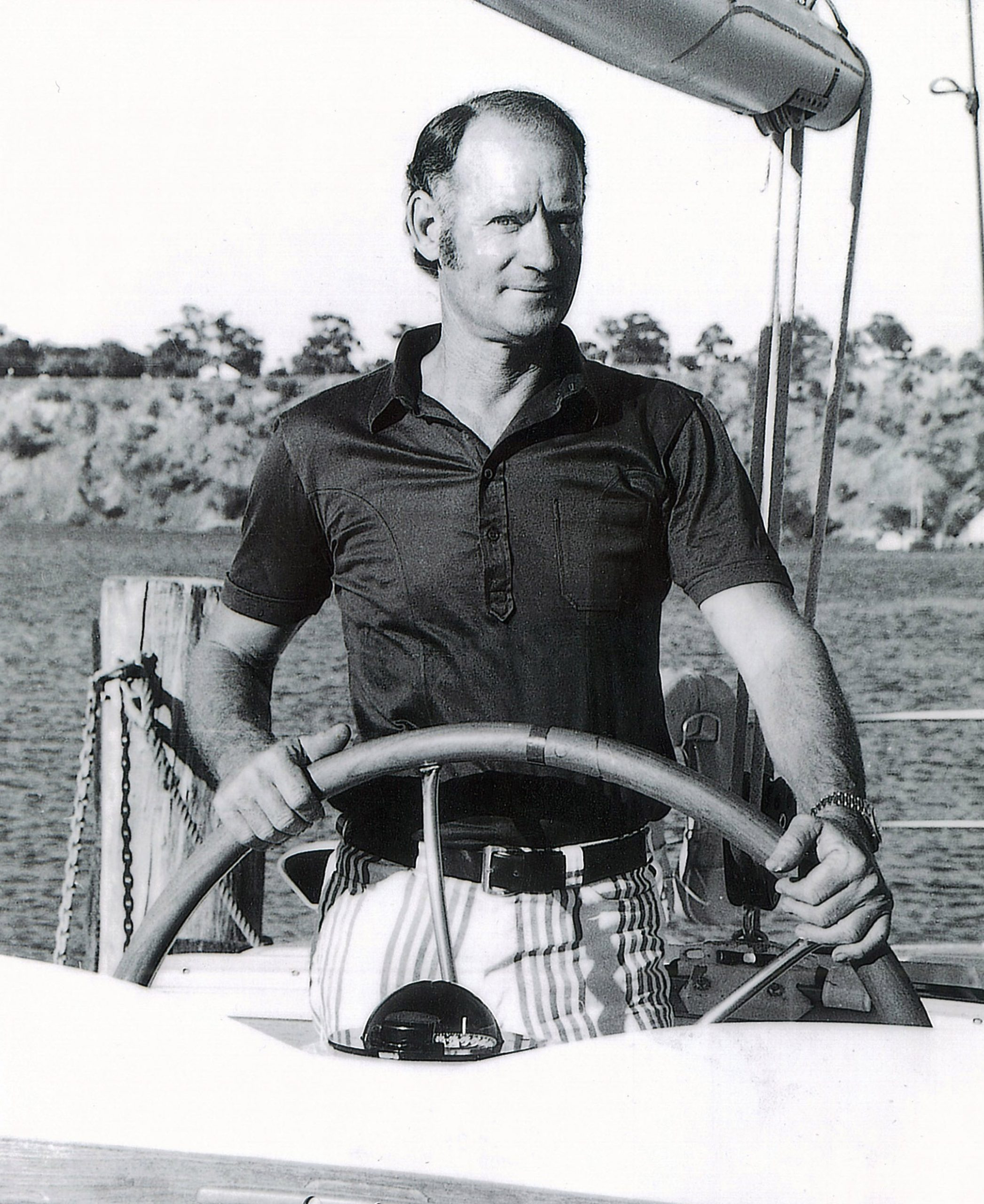 1972 Rolly Tasker at the helm of Siska II.