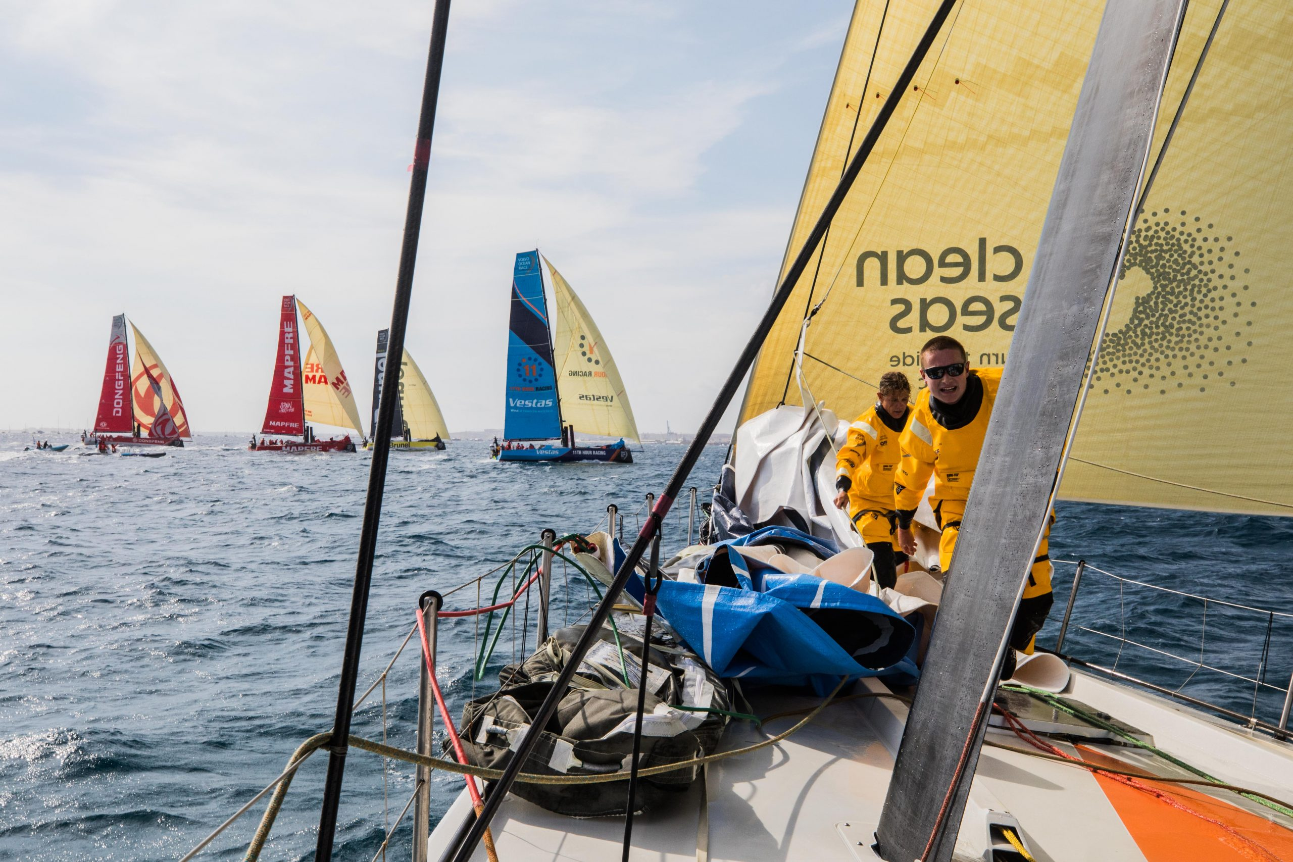 Lucas and Liz Wardley on the bow at the race start. Photo Jen Edney/Volvo Ocean Race.