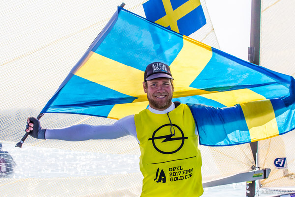 Swedish 2017 Finn World Champion Max Salminen. Photo Robert Deaves.