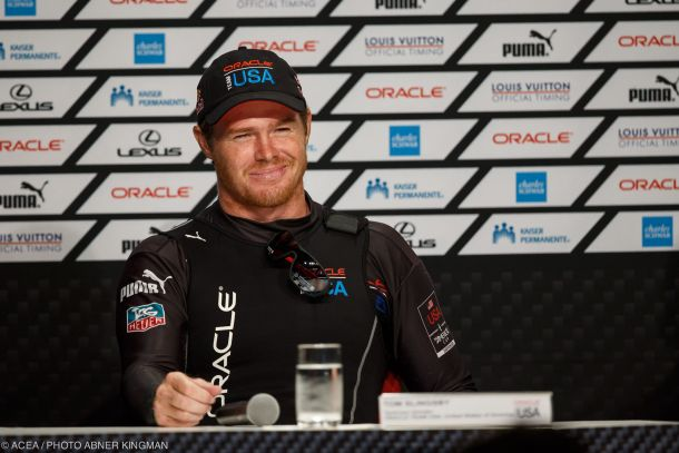 Tom Slingsby at an America's Cup media conference. Photo Gilles Martin-Raget/ACEA.