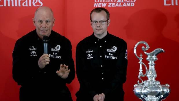 Team New Zealand boss Grant Dalton with his design guru Dan Bernasconi and the America's Cup. Photo Getty Images.
