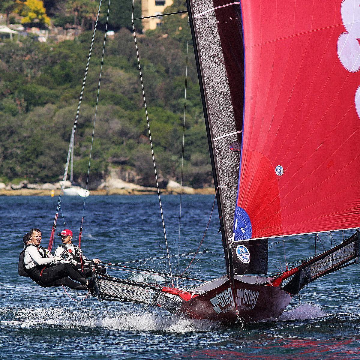 The champion Smeg crew head for home with a 48s lead over Finport. Photo Michael Crittenden.