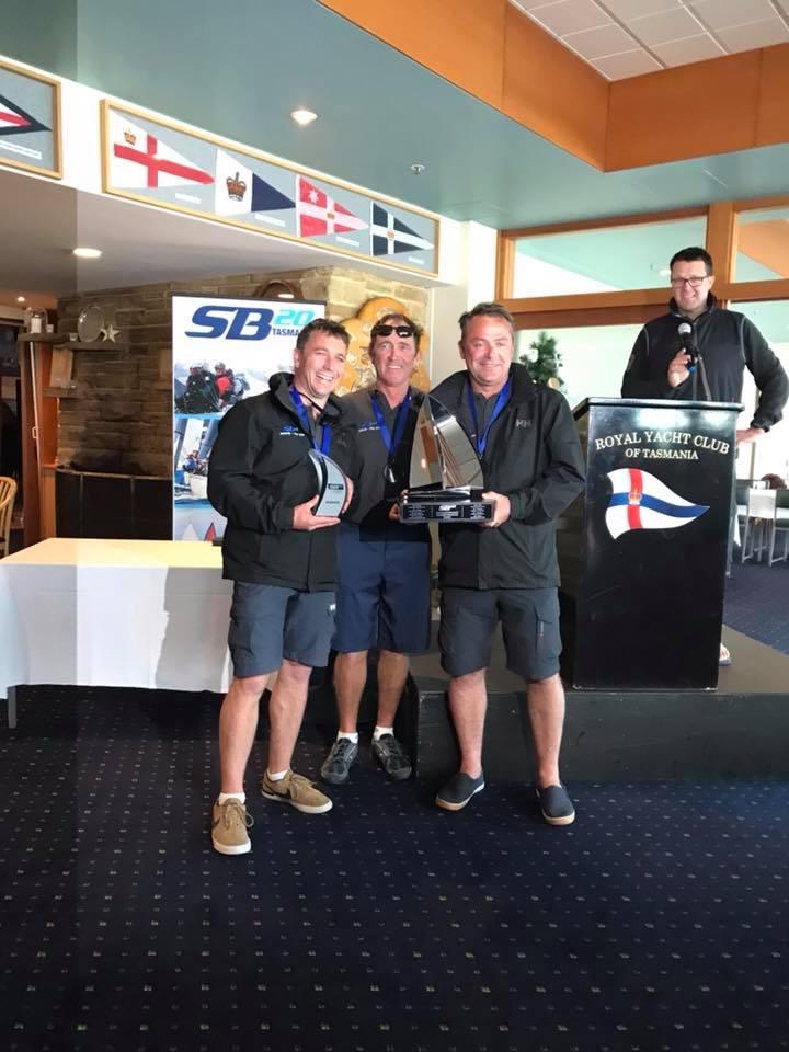 Brett Cooper and his winning crew of Nick Corkhill and Darren Jones Photo Jacinta Coooper.