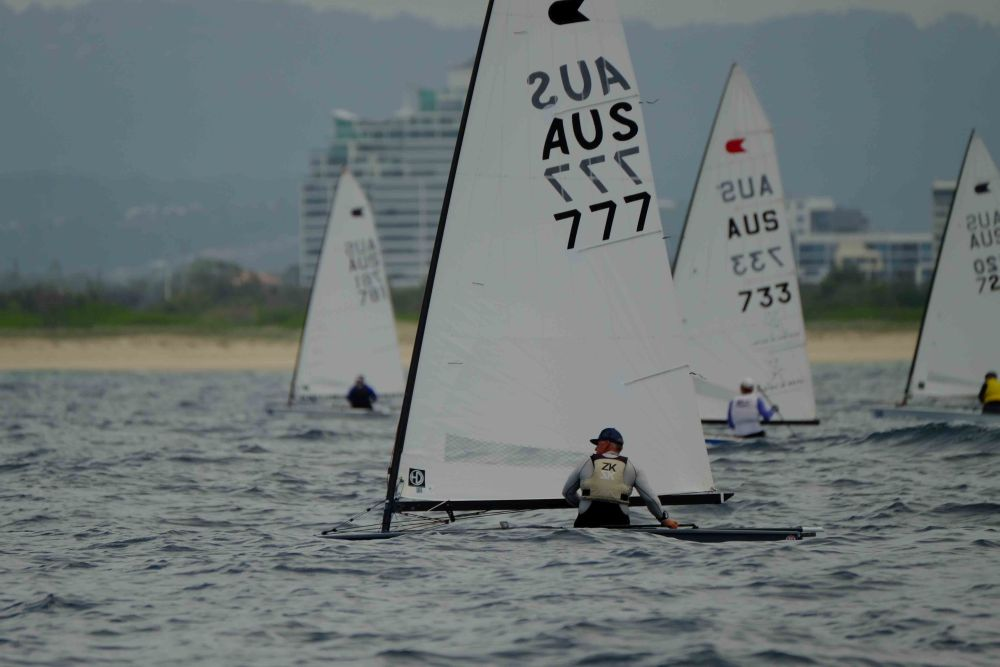 Rob McMillan at the 2018 OK Dinghy Nationals off Southport. Photo SYC.