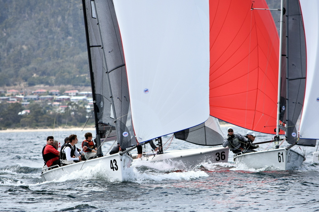 Close spinnaker gybing in race one of the SB20 pre-worlds. Photo Jane Austin.