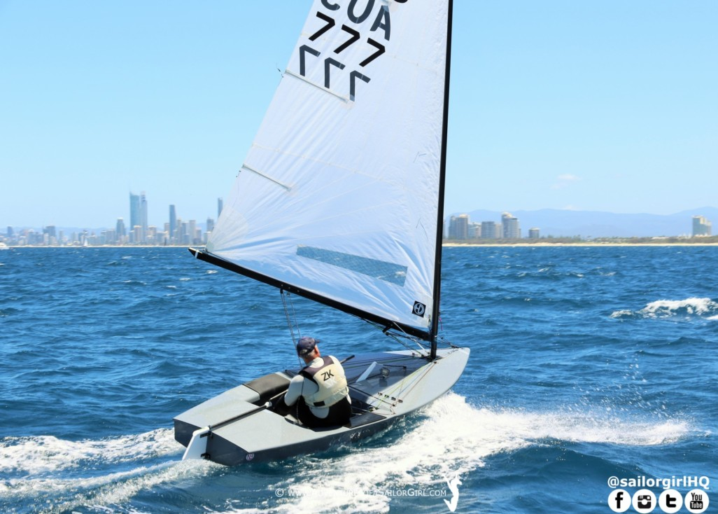 Rob McMillan onhis way to the OK Dinghy Championship on the Gold Coast. Photo SYV.