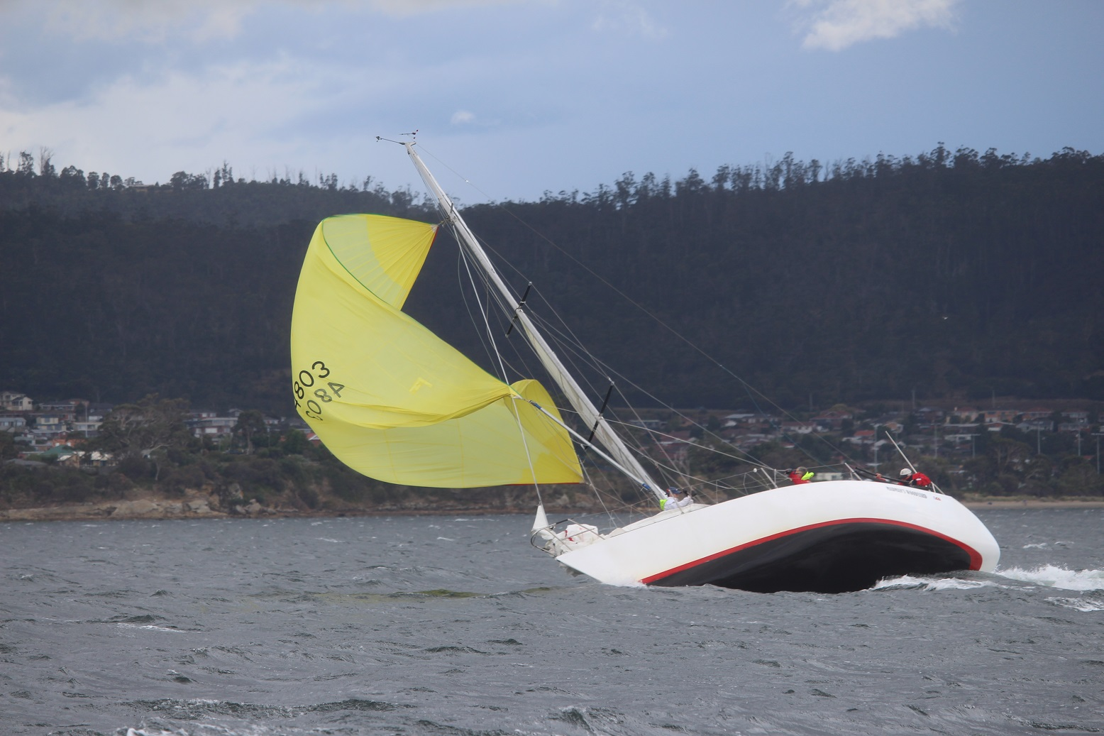 Madman's Woodyard broached in a heavy gust during the IOR Cup on the River Derwent. Photo Peter Watson.