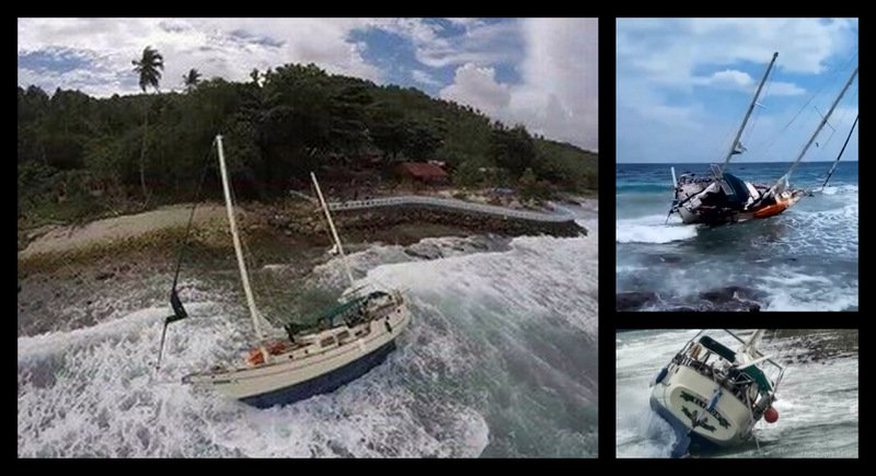 The skipper was forced to abandon the yacht 'Elysion' while en route from Phuket to Langkawi. Images: TMBA / Facebook
