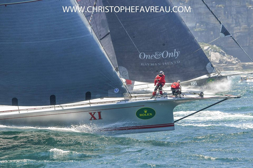 Hard work on the bow of Wild Oats XI. Photo Christophe Favreau.